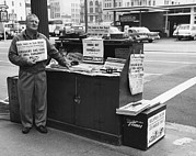 News Stand Prints - LA Times Newspaper Stand Print by Underwood Archives
