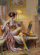 Table Lamp Framed Prints - La Toilette Framed Print by Delphin Enjolras