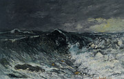 Cloudy Skies Posters - La Vague Poster by Gustave  Courbet