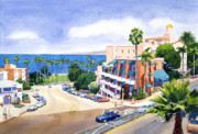 City Scape Painting Prints - La Valencia and Prospect Park Inn LJ Print by Mary Helmreich