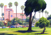Cypress Trees Prints - La Valencia Hotel and Cypress Print by Mary Helmreich