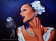 Blues Singers Paintings - La Vie En Rose by Cecily Cummings