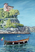 Portofino Italy Paintings - La Vie en Rose by Danielle  Perry