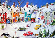 Snow Scene Painting Originals - La Ville Grand Mere by Wilfred McOstrich