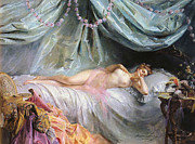 Negligee Metal Prints - La Volupte Metal Print by Madeleine Jeanne Lemaire