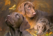 Animal Mixed Media Posters - Lab In Autumn Poster by Carol Cavalaris