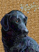 Labrador Digital Art - Lab Love Black by Sharon Marcella Marston