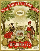 Oil Drawings Prints - Label for Vercherin Extra Virgin Olive Oil Print by French School