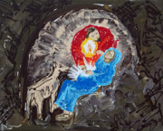 Christmas Eve Paintings - Labor in the Manger by Anne Cameron Cutri
