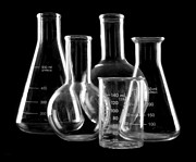 Flasks Prints - Laboratory Glassware Print by Jim Hughes