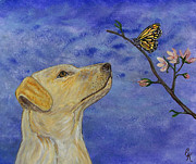 Cherry Blossoms Painting Metal Prints - Labrador Enchanted Metal Print by Ella Kaye