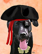 Labrador Digital Art Metal Prints - Labrador Pirate Metal Print by Kelly McLaughlan