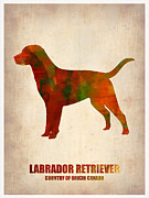 Puppy Digital Art Metal Prints - Labrador Retriever Poster Metal Print by Irina  March