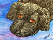 Black Lab Puppy Paintings - Labrador Retriever Puppy Painting by Annie Zeno