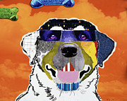 Dog Pet Portraits Mixed Media Posters - Labrador Retriever Rufus Poster by Michel  Keck