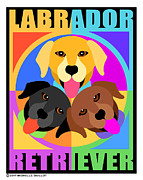 Chocolate Lab Digital Art Posters - Labrador Retrievers Poster by Michelle Guillot