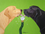 Black Lab Puppy Paintings - Labs Like to Share 2 by Amy Reges