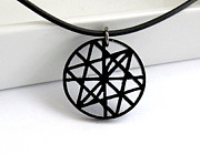 Perspex Jewelry Jewelry - Labyrinth Of Triangles Unisex Pendant Necklace by Rony Bank