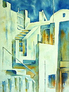 Greece Watercolor Paintings - Labyrinth by Thomas Habermann
