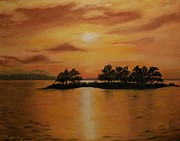 Landscape.by Sharon Duguay Originals - Lac La Biche  Sunset by Sharon Duguay
