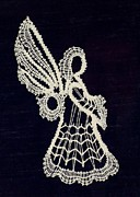 Wings Tapestries - Textiles Prints - Lace Angel Print by Jean Baardsen