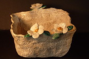 Basket Ceramics Posters - Lace bowl sculpture Poster by Debbie Limoli