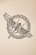 Dragonfly Drawings Framed Prints - Lace Dragonfly II Framed Print by Jodi Harvey-Brown