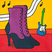 Purple Lace Shoes Posters - Lace-up boots Poster by Lida Bruinen