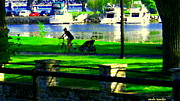 Water Vessels Paintings - Lachine Canal Bike Path A Nice Day To Cycle On The Water Front Quebec Scenes Montreal Carole Spandau by Carole Spandau