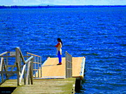 Summer Along The Canal Paintings - Lachine Canal Standing Her Ground Watching The River Roll St Lawrence River Scenes Carole Spandau   by Carole Spandau