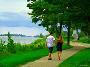 Summer Along The Canal Paintings - Lachine Canal Summer Scene Romantic Stroll  Bike Path  Montreal South West Landscapes Carole Spandau by Carole Spandau