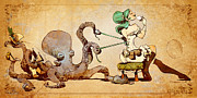 Octopus Art - Lacing Up by Brian Kesinger