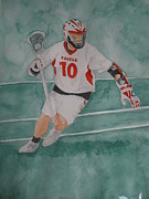 Lacrosse Paintings - Lacrosse Warrior #2 by Jann Barron