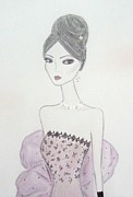 Fashion Illustration Pastels Posters - Lacy Lavender II Poster by Christine Corretti
