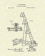 Fireman Drawings Posters - Ladder 1874 Patent Art Poster by Prior Art Design