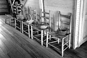 Flooring Framed Prints - Ladder Back Chairs and Baskets Framed Print by Lynn Palmer