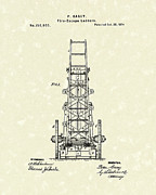 Fireman Drawings Posters - Ladders 1874 Patent Art Poster by Prior Art Design