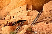 Mesa Verde Prints - Ladders To Longhouse Print by Adam Jewell