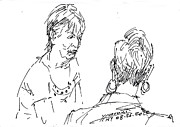Chatting Drawings - Ladies Chatting by Ylli Haruni