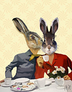 Ladies Digital Art Posters - Ladies Gossiping Hares Poster by Kelly McLaughlan