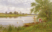 Swan Paintings - Ladies in a Punt by Arthur Augustus II Glendening