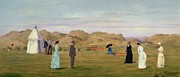 Golf Green Framed Prints - Ladies Match at Westward Ho Framed Print by Francis Powell Hopkins
