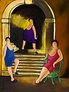 Village Life Framed Prints - Ladies Of The Night Framed Print by William Cain