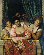 Blaas Prints - Ladies On A Balcony Print by Eugene de Blaas