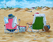 Sand Bags Prints - Ladies on the Beach Print by Val Miller