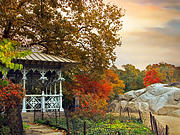 Ladies Digital Art Posters - Ladies Pavilion in Autumn Poster by Jessica Jenney