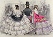 Victorian Drawings Metal Prints - Ladies Wearing Crinolines at the Royal Italian Opera Metal Print by TH Guerin