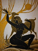 Peaceful Tapestries - Textiles - Lady and deer by Comminity in Sri Lanka