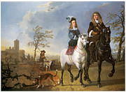Man And Woman Paintings - Lady and Gentleman on Horseback by Aelbert Cuyp