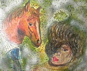 Shower Pastels Prints - Lady and Horse Print by Igor Kotnik